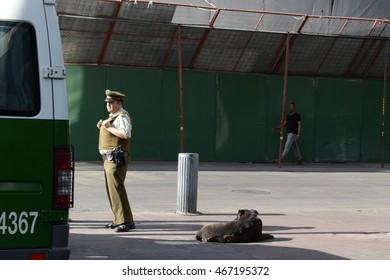 SANTIAGO, CHILE - NOVEMBER 23,2014: Karabiner on the street of Santiago.