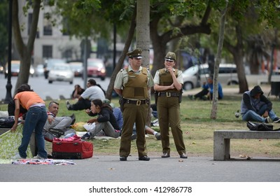 SANTIAGO, CHILE - NOVEMBER 23,2014:The carabinieri on the street of Santiago.