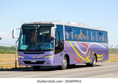 SANTIAGO, CHILE - NOVEMBER 24, 2015: Coach bus Busscar El Buss 340 at the interurban freeway.