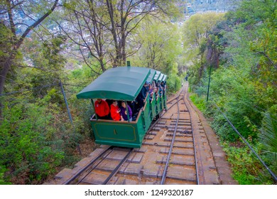 SANTIAGO, CHILE - OCTOBER 16, 2018: People travel on the Funicular of Cerro San Cristobal in Santiago de Chile, Chile