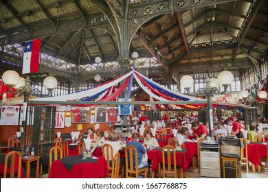 Santiago, Chile - October 17, 2013: Interior of the Central market in Santiago, Chile. Central market is famous for it's shopping, restaurants and iron construction.