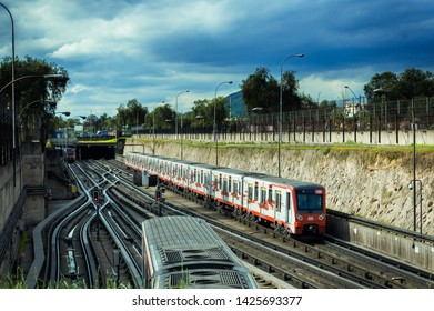 SANTIAGO, CHILE - OCTOBER 2015: Two Santiago Metro trains between San Pablo and Neptuno stations