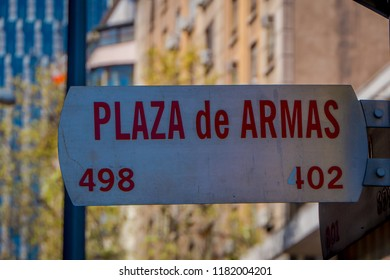 SANTIAGO, CHILE - SEPTEMBER 13, 2018: Informative sign of Plaza de Armas located in dowtown in Santiago de Chile