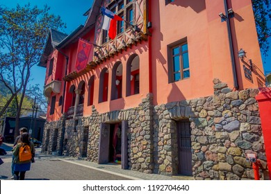 SANTIAGO, CHILE - SEPTEMBER 13, 2018: Castle Lehuede or Red House, located in the fashionable district Bellavista. This eclectic style building was built in 1923 for merchant don Pedro Lehuede.