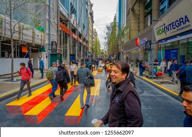 SANTIAGO, CHILE - SEPTEMBER 14, 2018: Crowd of people walking in the touristic street in the center of Santiago at Plaza de las Armas square in Santiago, Chile