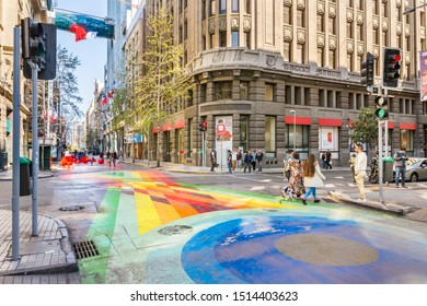 Santiago, Chile - September 20, 2019: Bandera Street, a colorful, painted passage, and famous touristic attraction in the city of Santiago, Chile