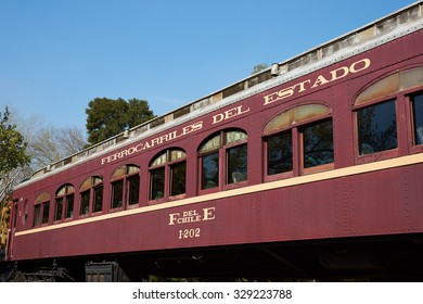 SANTIAGO, CHILE - SEPTEMBER 29, 2015: Old railway carriages at the railway museum in Parque Quinta Normal in Santiago, Chile.