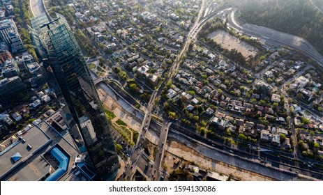 Santiago, Chile. September 29th, 2019. Aerial view with drone of the tallest building in South America: the Santiago Tower, part of the Costanera Center complex.