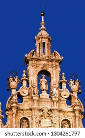 Santiago of Compostela Cathedral at night , Galicia, Spain