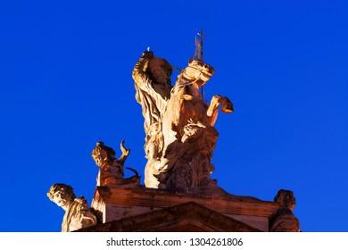 Santiago of  Compostela at night , apostle statue  at city hall, Galicia, Spain