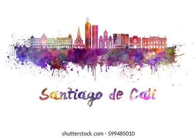 Santiago de Cali skyline in watercolor splatters with clipping path