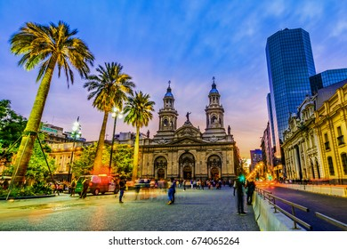 Santiago de Chile, Chile - 15 April 2017: Plaza de Armas, main square of Chile capital city, Santiago