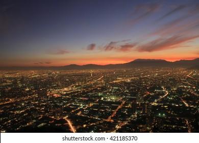 Santiago de Chile cityscape at sunset