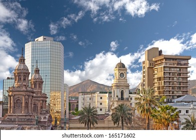 Santiago de Chile downtown, modern skyscrapers mixed with historic buildings, Chile.