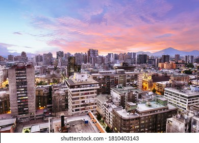 Santiago de Chile dwontown after sunset, Chile - Shutterstock ID 1810403143