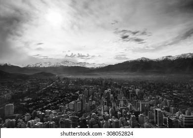 Santiago de Chile from high altitude. Santiago Cityscape