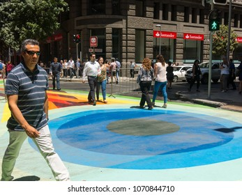 SANTIAGO DE CHILE, CHILE - JANUARY 26, 2018: Chilean citizens walking through the Flag Walk (Paseo Bandera in Spanish ), in the center of the city of Santiago de Chile. Chile.