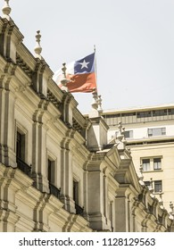 SANTIAGO DE CHILE - JANUARY 26, 2018: View of the presidential palace, known as La Moneda, in Santiago, Chile. This palace was bombed in the coup of 1973. Image with vintage and yesteryear effect
