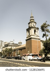 SANTIAGO DE CHILE, CHILE - JANUARY 26, 2018: The church of San Francisco, temple and old convent in the Alameda, the main avenue of Santiago de Chile. Image with vintage and yesteryear effect