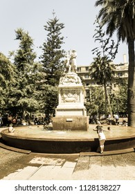 SANTIAGO DE CHILE - JANUARY 26, 2018: Monument to the American Liberty, located in the Plaza de Armas in Santiago. Work of Francesco Orselino. Image with vintage and yesteryear effect