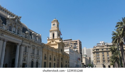 SANTIAGO DE CHILE, CHILE - JANUARY 26, 2018: The Royal Court Palace (Museo Histórico Nacional in Spanish), on plaza de Armas in Santiago de Chile. IIt is the main square of Santiago.