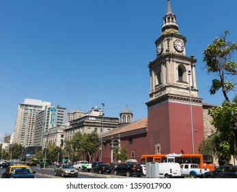 SANTIAGO DE CHILE, CHILE - JANUARY 26, 2018: The church of San Francisco, Catholic temple and old convent, in the Alameda, the main avenue of Santiago de Chile. Baroque style.