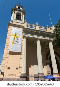 SANTIAGO DE CHILE, CHILE - JANUARY 26, 2018: Church of San Agustín, in the historic center of Santiago. The construction dates back to 1608, being the second oldest church in Chile after San Francisco