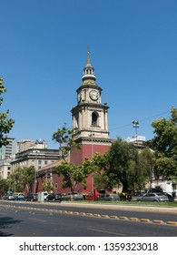 SANTIAGO DE CHILE, CHILE - JANUARY 26, 2018: The church of San Francisco, temple and old convent in the Alameda, the main avenue of Santiago de Chile. It is the oldest architectural monument in Chile.