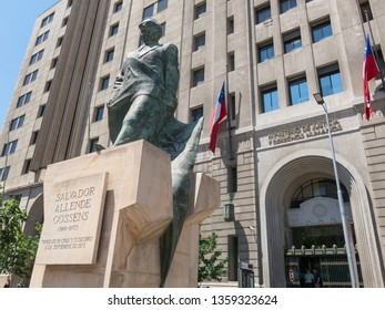 SANTIAGO DE CHILE, CHILE - JANUARY 26, 2018: : Monument to Chilean statesman and political figure. Salvador Allende Gossens in Santiago de Chile. He died during the bombing in the coup of 1973.