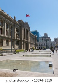 SANTIAGO DE CHILE - JANUARY 26, 2018: View of the Palace of Courts of Justice of Santiago de Chile, the capital of Chile, located in Montt-Varas Square (Plaza Montt-Varas in Spanish).