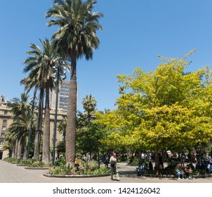 SANTIAGO DE CHILE, CHILE - JANUARY 26, 2018: Panorama of Plaza de Armas square. It's the main square of Santiago. I'is the centerpiece of the initial layout of city. Chile