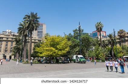 SANTIAGO DE CHILE, CHILE - JANUARY 26, 2018: Panorama of Plaza de Armas square in Santiago de Chile. It's the main square of Santiago. Chile