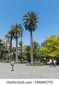 SANTIAGO DE CHILE, CHILE - JANUARY 26, 2018: Panorama of Plaza de Armas square in Santiago de Chile. It's the main square of Santiago. I'is the centerpiece of the initial layout of city.