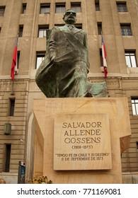 SANTIAGO DE CHILE, JULY 18, 2017 - Salvador Allende Statue