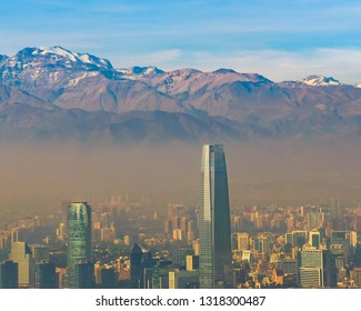 SANTIAGO DE CHILE, CHILE, MAY - 2018 - Aerial view of santiago de chile city from san cristobal hill point of view.