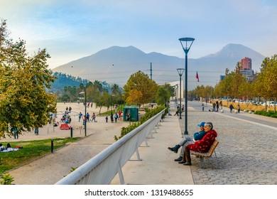 SANTIAGO DE CHILE, CHILE, MAY - 2018 - Urban autumn day scene at famous bicentennial park in santiago de chile city
