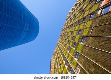 Santiago de Chile, Metropolitan Region, Chile - Modern Skyscraper and a building with an innovative system of green facade in Las Condes district.