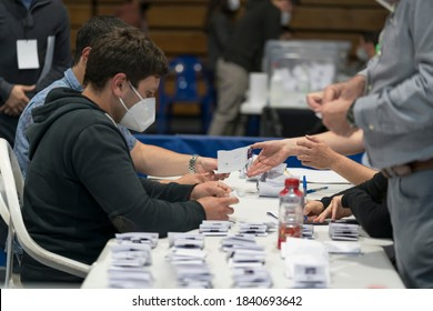 Santiago de Chile, Chile, October 25, 2020. Preparation process for the counting of the votes cast for the decision of the citizens on the change of the constitution in Chile.