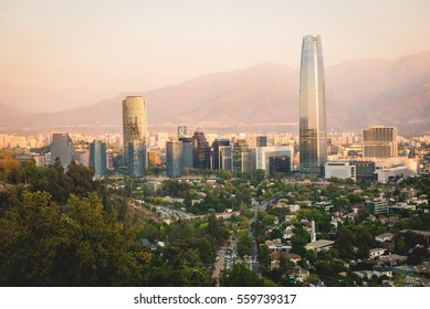 Santiago de Chile panorama in the morning. Horizontal outdoors shot.
