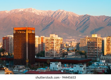 Santiago de Chile, panoramic view of the center at evening with snowy Andes