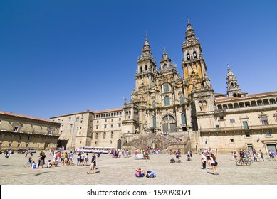 SANTIAGO DE COMPOSTELA - AUGUST 19: View of Obradoiro square and cathedral of Santiago, one of the most important Christian pilgrimage places, on August 19, 2013, in Santiago de Compostela, Spain.