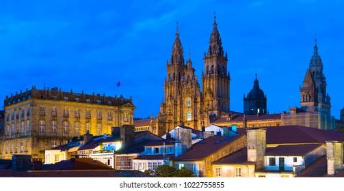 Santiago de Compostela Catedral by Night Panorama Galicia Spain