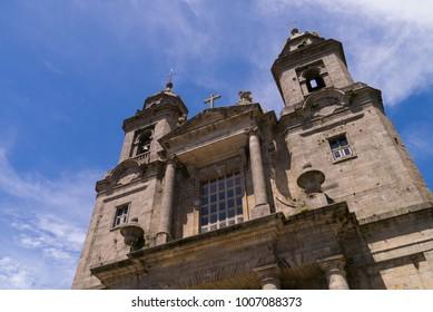 SANTIAGO DE COMPOSTELA, GALICIA, SPAIN - June 9, 2017: General view of the historic centre of Santiago de Compostela. People in the Rua do Vilar Santiago de Compostela Galicia Spain on June 9, 2017