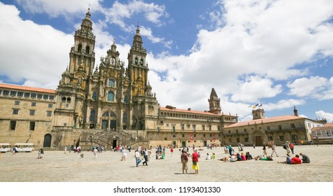 Santiago de Compostela, Galicia, Spain - 07-10-2017, Pilgrims on the Camino de Santiago arriving to Santiago de Compostela with it`s famous cathedral