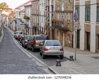 Santiago de Compostela, Galicia, Spain - October 5, 2014: The narrow, cobbled Hortas Street (Rua das Hortas) is the first stage of Camino Finisterre