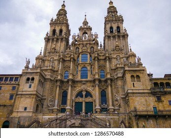 Santiago de Compostela, Galicia, Spain; 08/08/2018: Cathedral of Santiago of Compostela (Catedral de Santiago de Compostela), Galicia, Spain. Camino de Santiago.