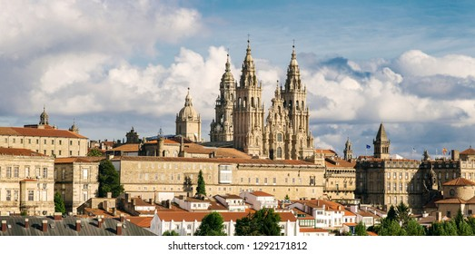 Santiago de Compostela panoramic view and the amazing Cathedral with the new restored facade. Camino de Santiago, Galicia Spain
