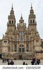 SANTIAGO DE COMPOSTELA, SPAIN - CIRCA FEBRUARY 2019: Santiago de Compostela Cathedral view from Obradoiro square. Cathedral of Saint James, Spain. Galicia, pilgrimage.
