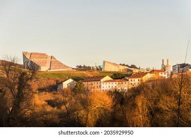 SANTIAGO DE COMPOSTELA, SPAIN - Dec 26, 2020: The City of Culture of Galicia (Cidade da Cultura), a complex of cultural buildings designed by Peter Eisenman
