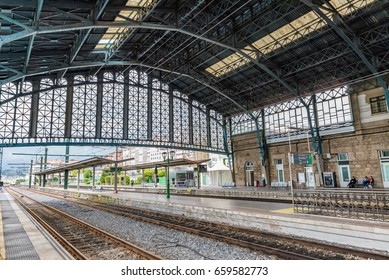 SANTIAGO DE COMPOSTELA, SPAIN - JUNE 15, 2016: Santiago de Compostela Station in Spain. Santiago de Compostela is the capital of the autonomous community of Galicia in Spain.